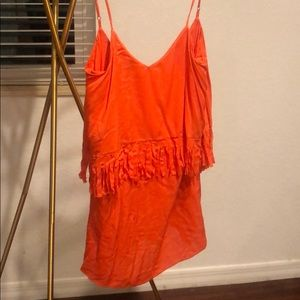 L Space Orange Mini Fringe Dress XS Like New